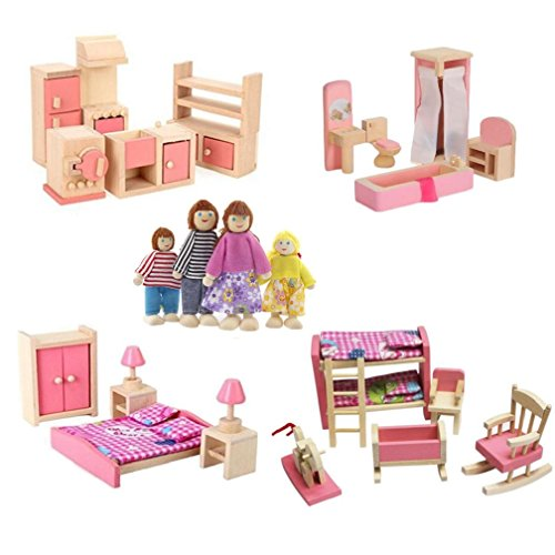 Kunhe 4 Set Wooden Dollhouse Furniture Including Kitchen,Bathroom, Bedroom, Kids Room for Dollhouse Pink Color with 4 Dolls