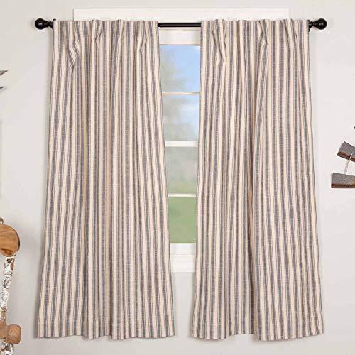 "Market Place Blue Ticking Stripe Panel Curtains, Set of 2, 63"" Long, Farmhouse Style Blue & Natural Cream Window Drapes"