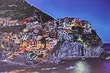 JANDEI - Cuadro Paisaje LED Con Interruptor (Italia, 60 * 40 * 1,8) Paisaje Ciudad Italia Cinque Terre Con Iluminación 8 LEDs 2 Pilas AA