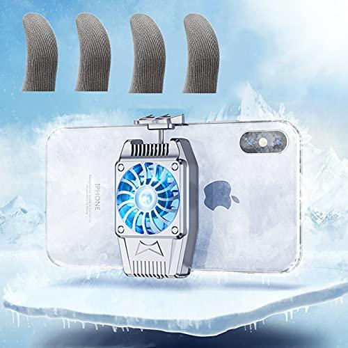 Refrigerador de teléfono portátil, velocidad del viento a 3 velocidades, controlador de refrigeración compatible con smartphone universal iPhone/Android (aire acondicionado + guantes)