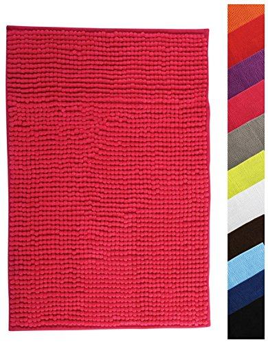 MSV Badteppich Badvorleger Duschvorleger Chenille Hochflor Badematte 60x90 cm – Pink