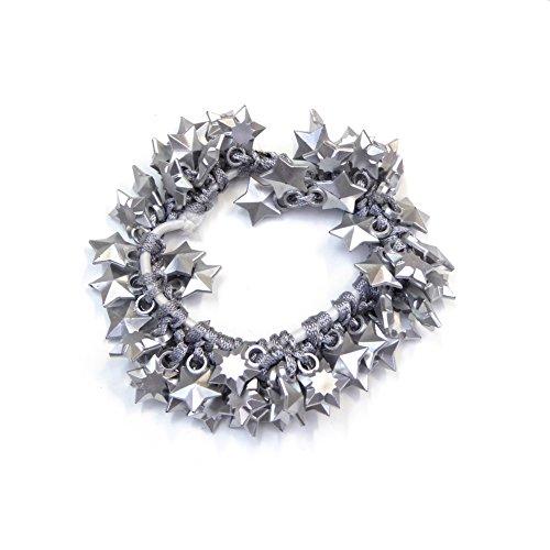 rougecaramel - Elastique cheveux ou bracelet perles étoile argenté