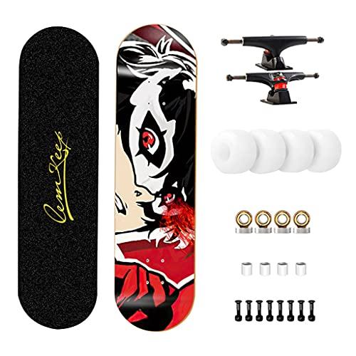 qiaoliang 31'Pro Skateboard para Niños Adolescentes Adultos, Placa De Skate Estándar Completa, 7 Capas De Arce Doble Patinaje Cóncava, Carga 330 Libras