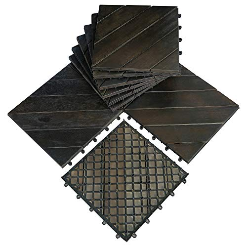 Mcombo 10Pcs Patio Wood Deck Tiles 12'x12',Outdoor Interlocking Deck Flooring Oiled Finish,Patio Paver Tiles for Outdoor,Deck Balcony and Backyard 6083-WF01/02-BK/WD
