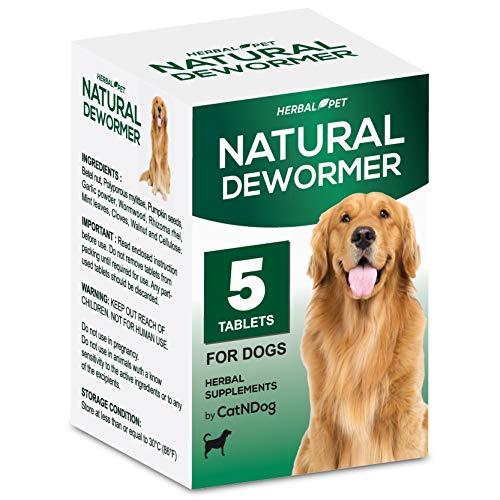 HERBALPET 8in1 Health Supplements | Natural Dog Dewormer Alternative | Intestinal Cleanse | Works for Puppy, Small, Medium and Large Breed | 5 Tablets | One-time Treatment