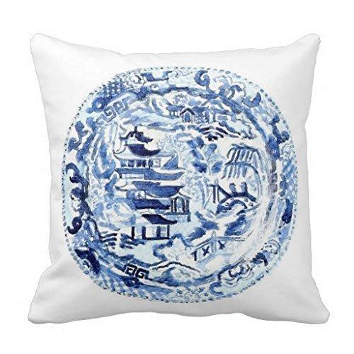 yting Chinoiserie Assiette Bleu Blanc Taie d'oreiller pour Chaise Longue, Divan, extérieur, Chaise Longue, pub, Famille 18\