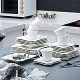 MALACASA, Serie Amparo, 60 TLG. Cremeweiß Porzellan Geschirrset Tafelservice mit Kaffeeservice, Dessertteller, Suppenteller und Flachteller für 12 Personen - 9
