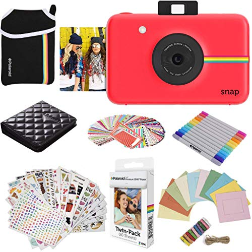 Polaroid Snap Instant Digital Camera (Red) Protective Bundle with 20 Sheets Zink Paper