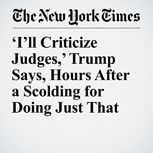 'I'll Criticize Judges,' Trump Says, Hours After a Scolding for Doing Just That copertina