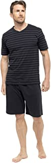 Mens/Gentlemens Nightwear/Sleepwear Striped Short Sleeve T-Shirt & Shorts Pyjama Set