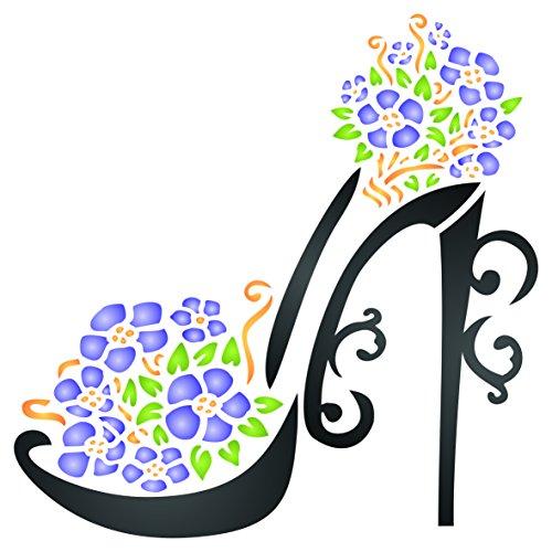 Szablon do butów na wysokim obcasie - 11,5 x 11,5 cm (S) - Wielokrotnego użytku ozdobne szpilki do kwiatów buty na platformie szablon ścienny