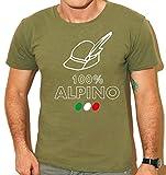 Tipolitografia Ghisleri Maglietta Alpino Brescia Verde Militare Cappello Penna Tricolore Replica Uomo, Donna, Bambino