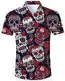 ALISISTER Festival Camisas Halloween 3D Novedad Calavera y Flor Camisa gráfica de Manga Corta con Botones para Niños Niñas Fiesta L