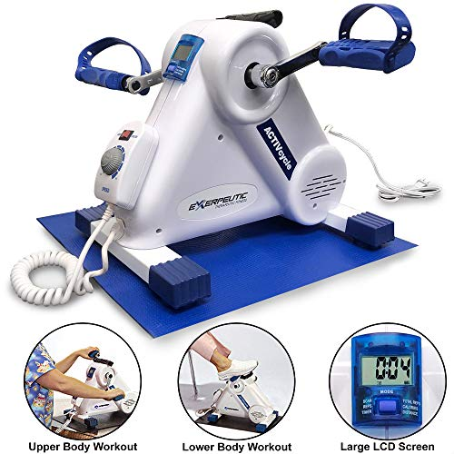 Exerpeutic Motorized Leg and Arm Pedal Exerciser Mini Exercise Bike with Bonus Mat