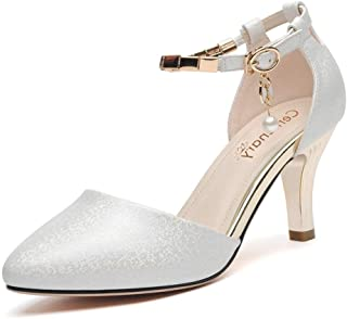 Casual Sandals 2019 Summer New Pearl Inlaid Metal Buckle Female Single Shoes Wine Glass with Apricot Head Women's Shoes Single Shoes (Color : Silver, Size : 34)