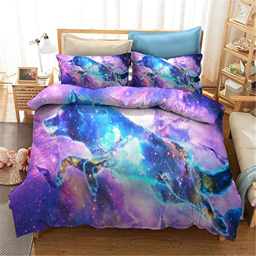 3D Wolf Print Duvet Cover Lightweight Microfiber Soft Quilt Cover Premium Quality Bedding Set Sing Double King Size 2/3 Pieces (Wolf 06,Single)