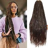 6Packs 24/30 inch Long Box Braids Crochet Hair Extension Synthetic Hair Kanekalon Crochet hair Braids Crochet Box Braids Hair Synthetic Crochet Hair(30inch, T30)