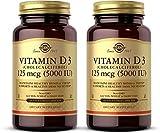 Solgar Vitamin D3 (Cholecalciferol) 125 mcg (5000 IU), 240 Vegetable Capsules - Pack of 2 - Help Maintain Healthy Bones & Teeth, Immune System Support - Non-GMO, Gluten Free - 480 Total Servings
