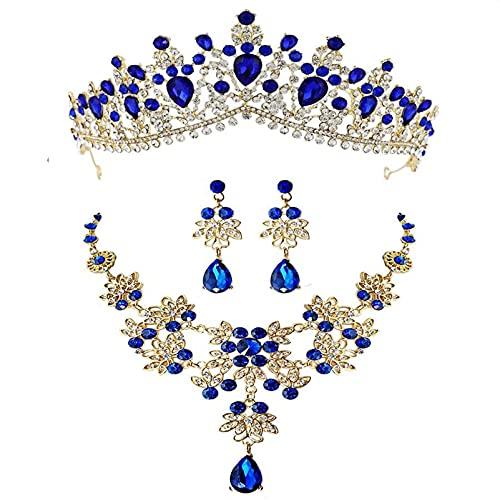 YUANBOO Barroco Retro Oro Rojo Verde Azul Cristal Conjuntos De Joyería Nupcial Collar Pendientes Tiaras Corona Boda Cuentas Africanas Conjunto De Joyas (Metal Color : 3Pcs Blue Set)
