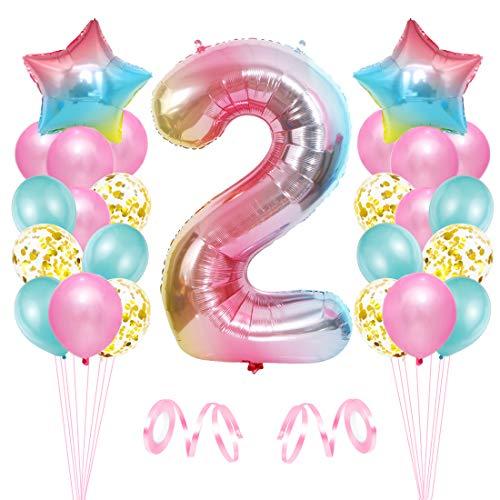 2er Cumpleaños Globos, Decoración de Cumpleaños 2 en Rosado, Cumpleaños 2 Año, Feliz Cumpleaños Decoración Globos 2 Años, Globos de Confeti y Aluminio para Niñas