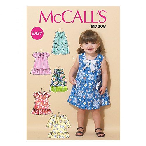 McCall 's Kleinkind Einfache Schnittmuster 7308Zelt Kleider + Minerva Crafts Craft Guide