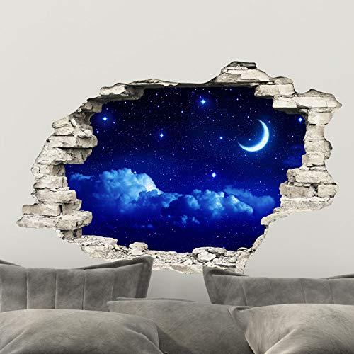 Stickers muraux Chambre Adulte - Adhesif Mural Effet 3D | Sticker Mural - Autocollant Mural Ciel & Lune - Stickers Muraux Cuisine - Décoration Murale Trompe l'œil Salon - Autocollants Muraux 60x90cm