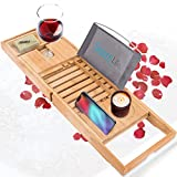 SereneLife Luxury Bamboo Bathtub Caddy Tray-Adjustable Natural Bath Tub Organizer with Wine Holder, Cup Placement, Soap Dish, Book Space & Phone Slot for Spa, Bathroom & Shower, Wood Brown