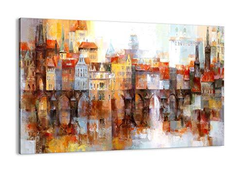 Cuadro sobre lienzo - Impresión de Imagen - ciudad casa de la vivienda - 120x80cm - Imagen Impresión - Cuadros Decoracion - Impresión en lienzo - Cuadros Modernos - Lienzo Decorativo - AA120x80-3476