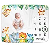 Safari Jungle Baby Monthly Milestone Blanket, Jungle Animals Milestone Blanket for New Mom, Giraffe Elephant Baby Growth Chart Monthly Blanket, Includes Marker (Blue, 50'x40')