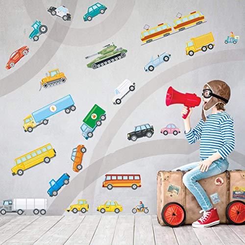 Runtoo Pegatinas de Pared Coche Transporte Stickers Adhesivos Vinilo Vehiculos Decorativas Infantiles Habitacion Bebe