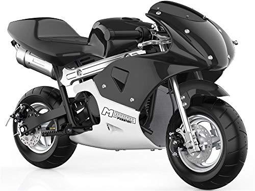 MotoTec Phantom Gas Pocket Bike 49cc 2-Stroke Engine Black