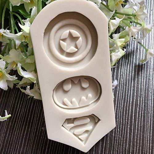 MJY Captain America Superman Batman Logo Accessoires de chocolat Outils de cuisson pour moule à cake en silicone Fournitures de cuisine,UNE