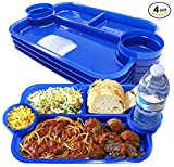 The Party Dipper - Kids and Adults Party Plate Serving Tray Innovative Multi-Use Versatile Convenient For a Party, Events, Catering, School, Home - Made In USA (Pack of 4 Blue)