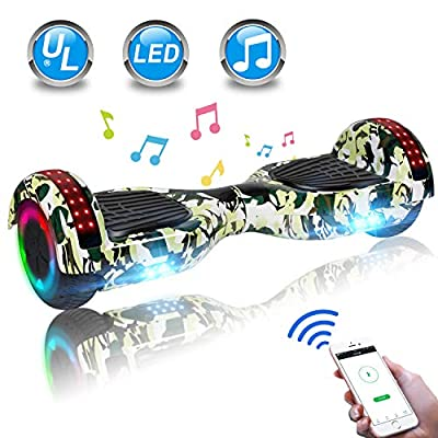 """UNI-SUN 6.5"""" Hoverboard for Kids, Two Wheel Electric Scooter, Self Balancing Hoverboard with Bluetooth and LED Lights for Adults, UL 2272 Certified Hover Board?Ultimate Camo Green"""