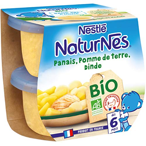 NESTLE NATURNES BIO Petits Pots Bébé Panais Pomme de Terre Dinde - Dès 6 mois - 2x190g - Pack de 8 ( 16 Pots )