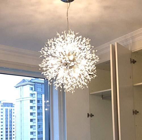 Lámpara De Cristal De 8 Cabezas E27 Luz De Techo Moderna para Sala De Estar Dormitorio Comedor Rama Lámpara De Luciérnaga Lámparas Colgantes De Arte De Diente De León Simple,Plata