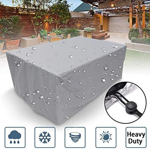 Rock1on Abdeckung für Terrassentisch und Stühle, für den Außenbereich, Poolabdeckung, 420D Oxford-Gewebe, UV-beständig, langlebig, wasserdicht, für Gartenmöbel, 325x208x58cm