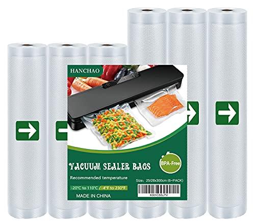 HANCHAO Rollos de vacío de 6 rollos de 3 x 28 x 300/3 x 25 x 300 cm, bolsas de vacío para todas las envasadoras al vacío y adecuadas para Sous Vide, sin BPA, bolsas de vacío fuertes y resistentes
