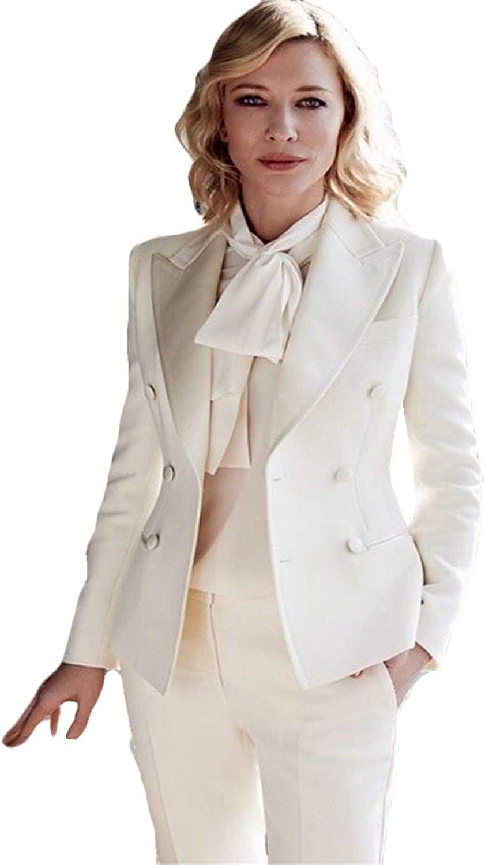 WZW Women's Slim Fit Business Suit White Peak Lapel Wedding Party Suit