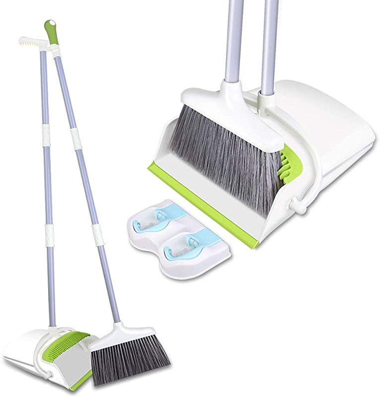 Skizem Broom And Dustpan Set Upright Dust Pan And Broom Combo With Long Extendable Handle Dirt And Pet Hair Cleaning For Kitchen Home Lobby Green