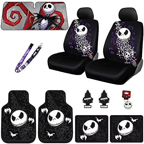 Yupbizauto 13 Pieces Nightmare Before Christmas Jack Skellington Car Truck SUV Seat Covers Rubber Front and Rear Floor Mat Sunshade Air Fresheners Keychain Set with Little Tree Air Freshener