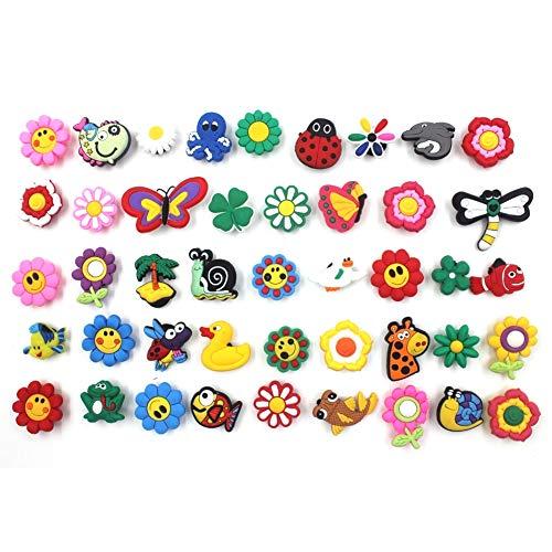 44 Pcs Shoe Charms PVC Cute Flower Shape Bracelet Cartoon Croc Shoes Decor Wristbands Gift for Kids