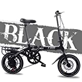 FYYTRL Ligera de Acero al Carbono Bicicleta Plegable de la Ciudad, 16 Hombres y Mujeres Inch Doble Freno de Disco...