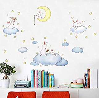 Cartoon rabbit wall stickers for kids rooms clouds white rabbit catching the stars decor wall decals pvc poster diy art mu...