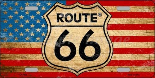 DOGT Route 66 American Flag Novelty License Plate Tag Sign Vintage TIN SIGN 7.8 * 11.8 inch(L * W)