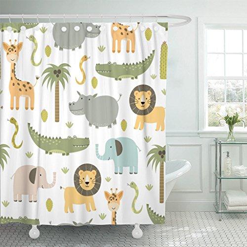 Emvency Duschvorhang Safari-Tiere, süßes Nilpferd, Krokodil, Löwe, Elefant & Giraffe, wasserdichtes Polyestergewebe, 152,4 x 182,9 cm, Set mit Haken