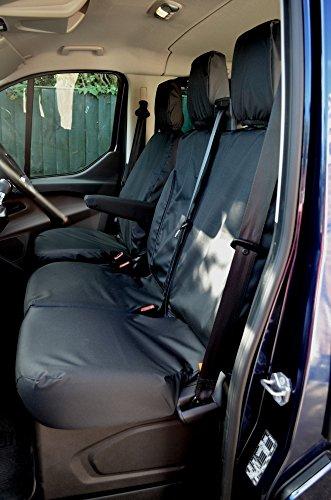 Fundas para asientos de coche Ford Transit Custom, hechas a medida, simple y doble, resistentes al agua, en color negro, producto de calidad británica