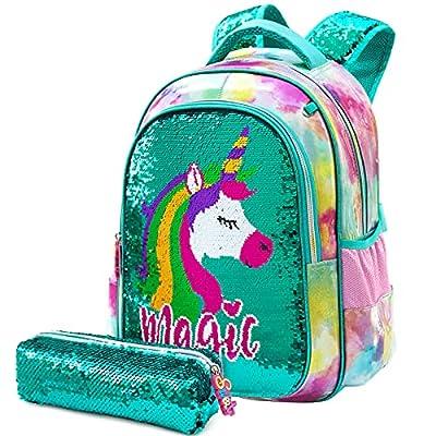 Mochila para niñas 2PCS con Estuche para lápices para niñas Unicornio con Lentejuelas