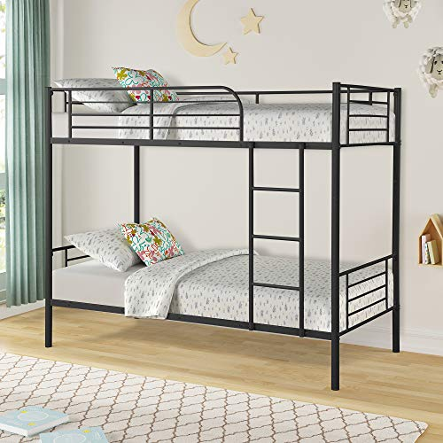 Merax Twin Over Twin Metal Bunk Bed with Removable Ladder for Kids/Teens/Children/Adults, Black