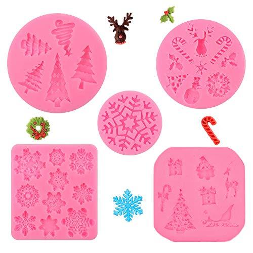 Stampo in Silicone,Set di 5 stampi per fondente natalizio, motivo fiocchi di neve, albero di Natale, renna, foglie di agrifoglio, stampelle, pupazzo di neve, per feste di compleanno